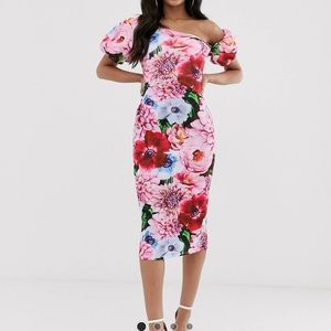 ASOS DESIGN floral asymmetric bubble sleeve midi